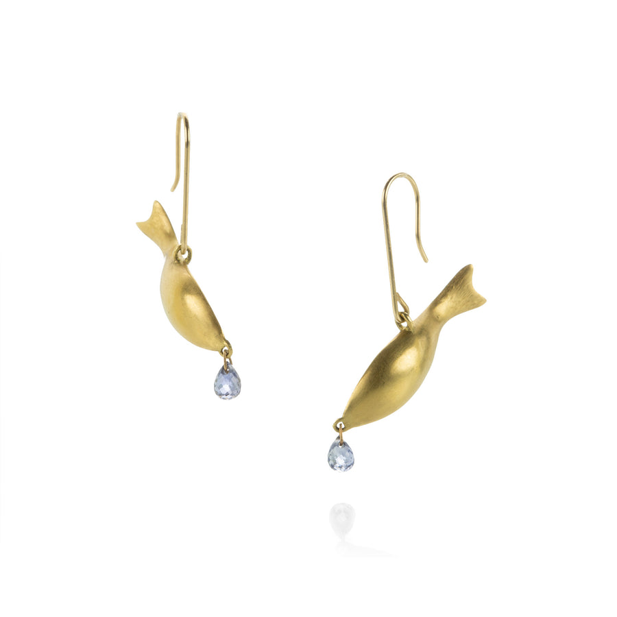 Gabriella Kiss Fish Earrings with Sapphire Drops | Quadrum Gallery