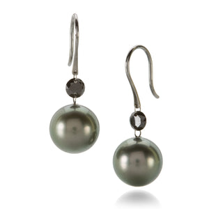 Gellner Tahitian Pearl & Black Diamond Earring | Quadrum Gallery