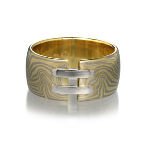 George Sawyer Yellow and White Gold Wide Mokume Gane Band  | Quadrum Gallery