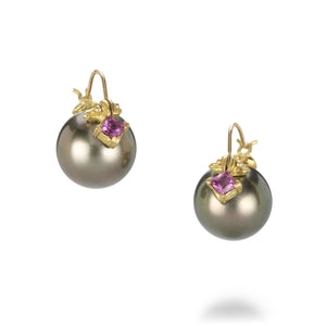 Gabrielle Sanchez Tahitian Pearl and Purple Sapphire Earrings | Quadrum Gallery
