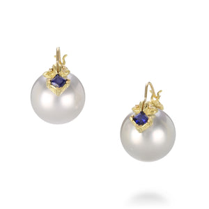 Gabrielle Sanchez Tahitian Pearl and Blue Sapphire Earrings | Quadrum Gallery