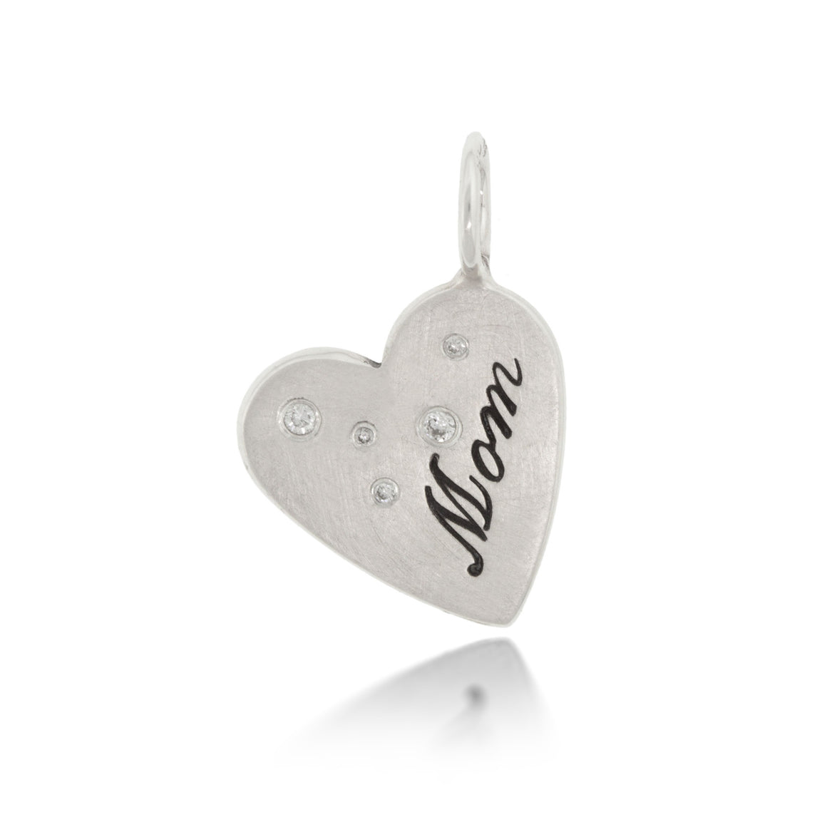 "Heather Moore ""Mom"" Heart Charm with Diamonds 