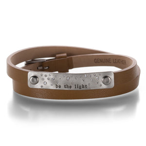 Heather Moore Tan Leather Bracelet with Stamped Buckle | Quadrum Gallery