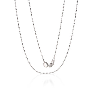 Julez Bryant 1mm White Gold Diamond Cut Ball Chain 16"