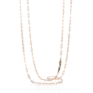 Julez Bryant Rose Gold Thin Rectangular Link Chain - 30"