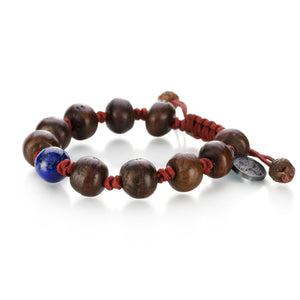 Lapis and Antique Bodhi Seed Bracelet
