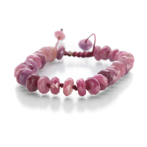 Joseph Brooks 8mm Faceted Pink Ruby Bracelet | Quadrum Gallery