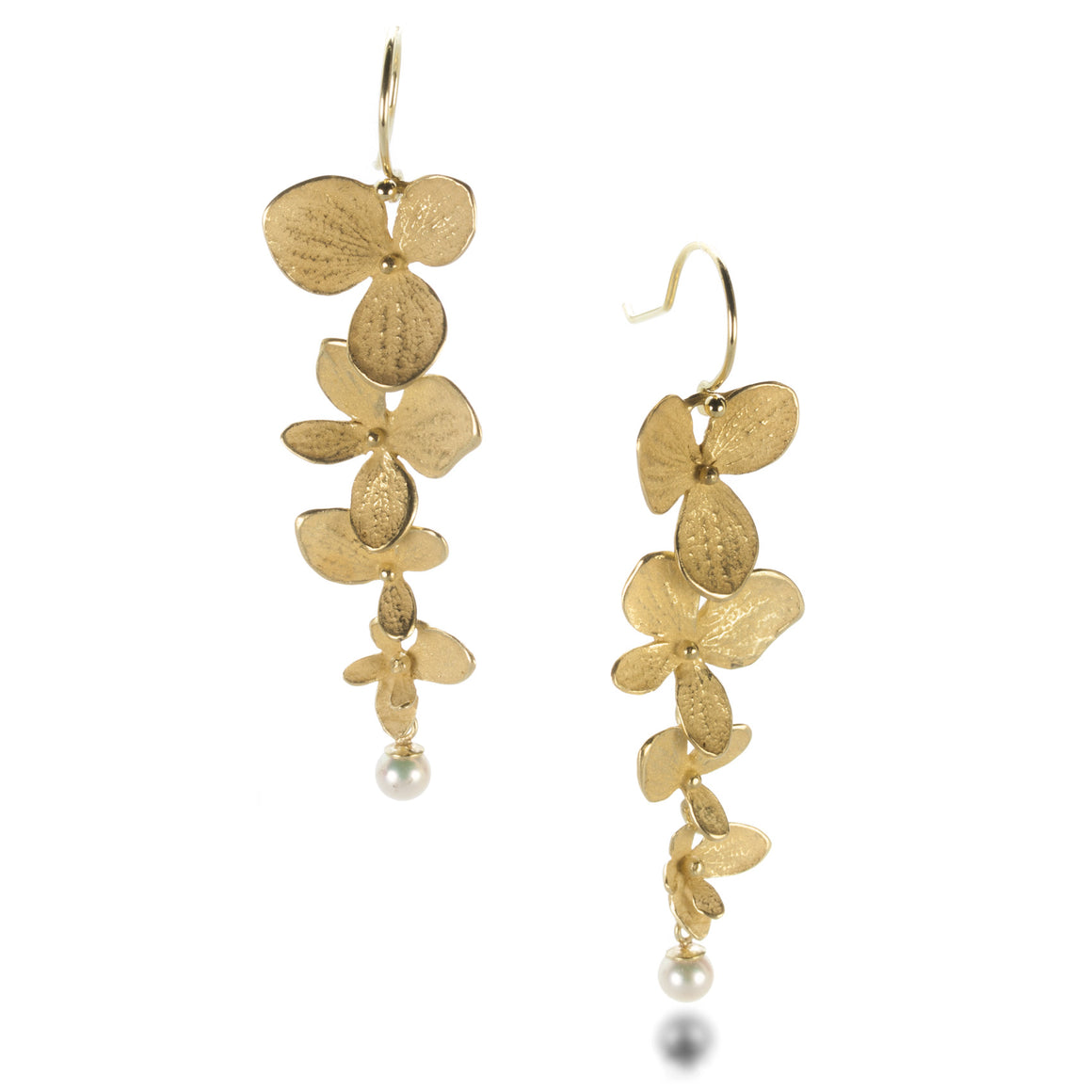 John Iversen Four Part Hydrangea Earrings with Pearls | Quadrum Gallery