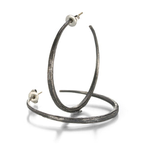 John Iversen Oxidized Silver Large Hoops | Quadrum Gallery