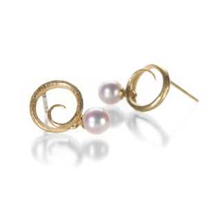 John Iversen Mini Swirl Earrings with Pearl Drops | Quadrum Gallery