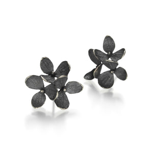 John Iversen Oxidized Sterling Silver 3 Part Hydrangea Earrings | Quadrum Gallery