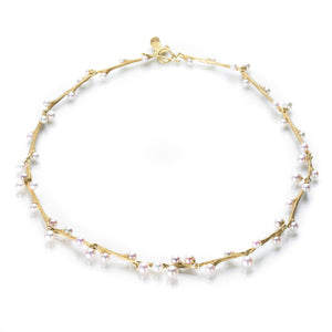 John Iversen 18k Yellow Gold Willow Necklace with Pink Pearls | Quadrum Gallery