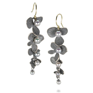 John Iversen 4 Part Hydrangea Earrings with Gray Pearls | Quadrum Gallery