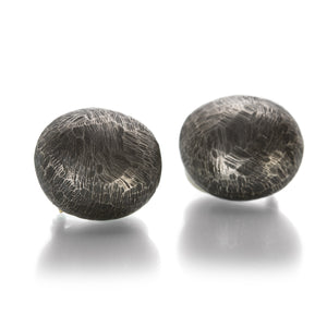 John Iversen Oxidized Silver 3D Pebble Earrings - Clip Ons  | Quadrum Gallery