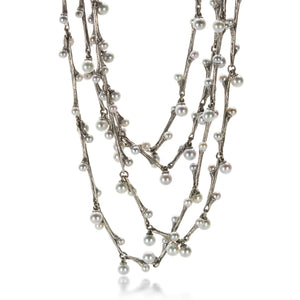 John Iversen Long Gray Akoya Pearl Willow Necklace | Quadrum Gallery