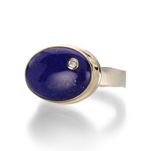 Oval Lapis with Diamond Ring