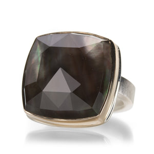 Jamie Joseph Rock Crystal and Black Mother of Pearl Ring | Quadrum Gallery