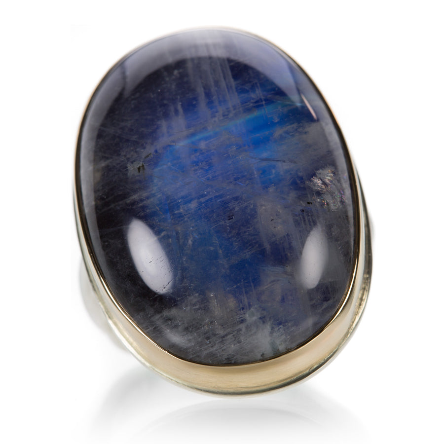 Jamie Joseph Large Smooth Blue Rainbow Moonstone Ring | Quadrum Gallery