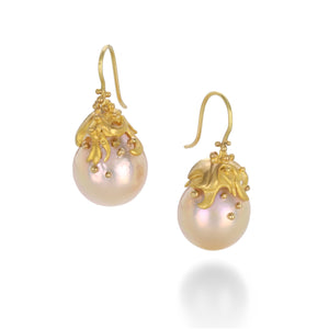 Lilly Fitzgerald Pink Pearl Wave Drop Earrings | Quadrum Gallery