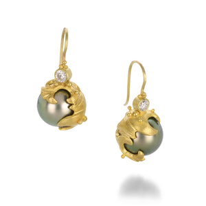 Lilly Fitzgerald Green Gray South Sea Pearl Wave Earrings | Quadrum Gallery