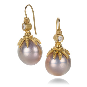 Lilly Fitzgerald Chinese Pink Pearl and Diamond Earrings | Quadrum Gallery