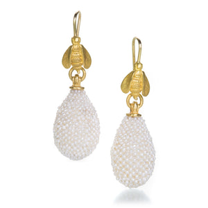 Lilly Fitzgerald Seed Pearl Drop Earrings with Bees | Quadrum Gallery