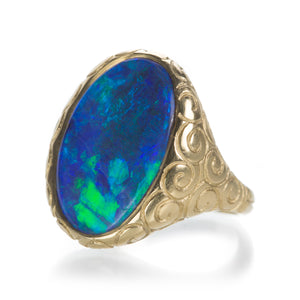 Lilly Fitzgerald Boulder Opal Engraved Ring | Quadrum Gallery