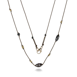 Margaret Solow Black Diamond and Gold Bead Cord Necklace | Quadrum Gallery