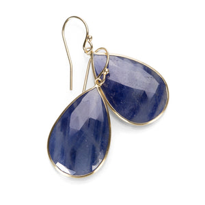 Margaret Solow Teardrop Blue Sapphire Earrings | Quadrum Gallery