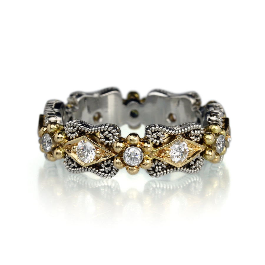 Nathan Levy Platinum and Gold Scroll Band | Quadrum Gallery