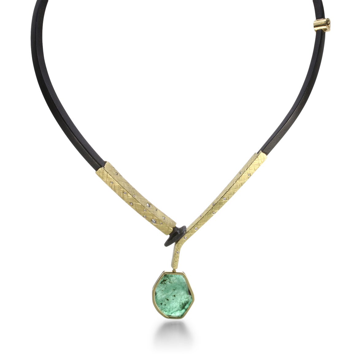 Yellow Gold Collar with Emerald Drop