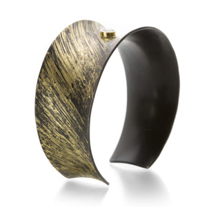 Pat Flynn Engraved Gold Dust Cuff with Diamond | Quadrum Gallery