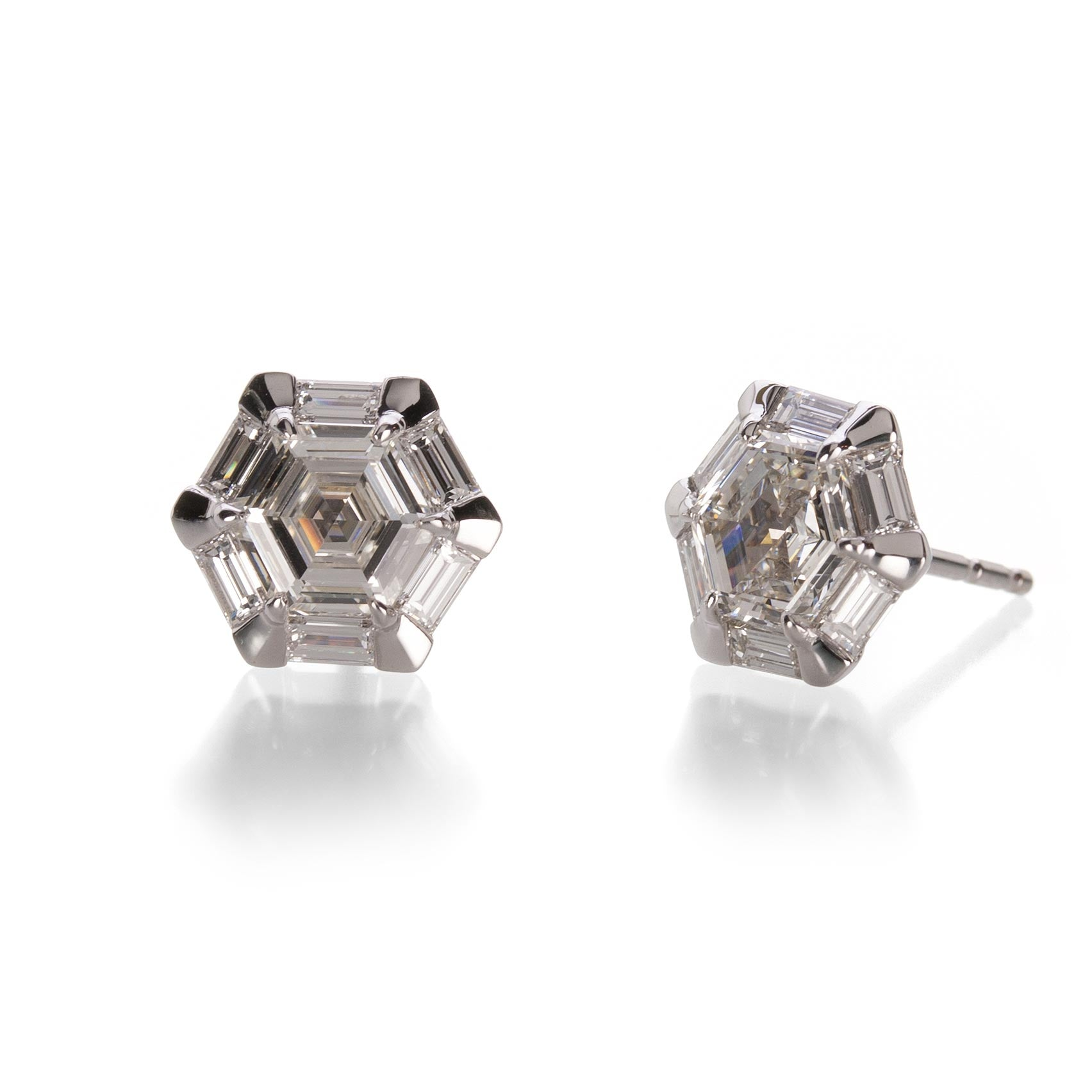 Hex Diamond Stud Earrings