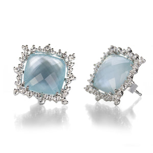 Paul Morelli Blue Topaz Checkerboard Confetti Stud Earrings | Quadrum Gallery
