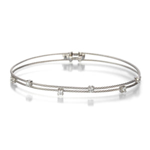 Paul Morelli White Gold Double Wire Bracelet with Diamonds | Quadrum Gallery