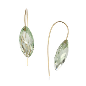Rosanne Pugliese Green Quartz Navette Earrings | Quadrum Gallery