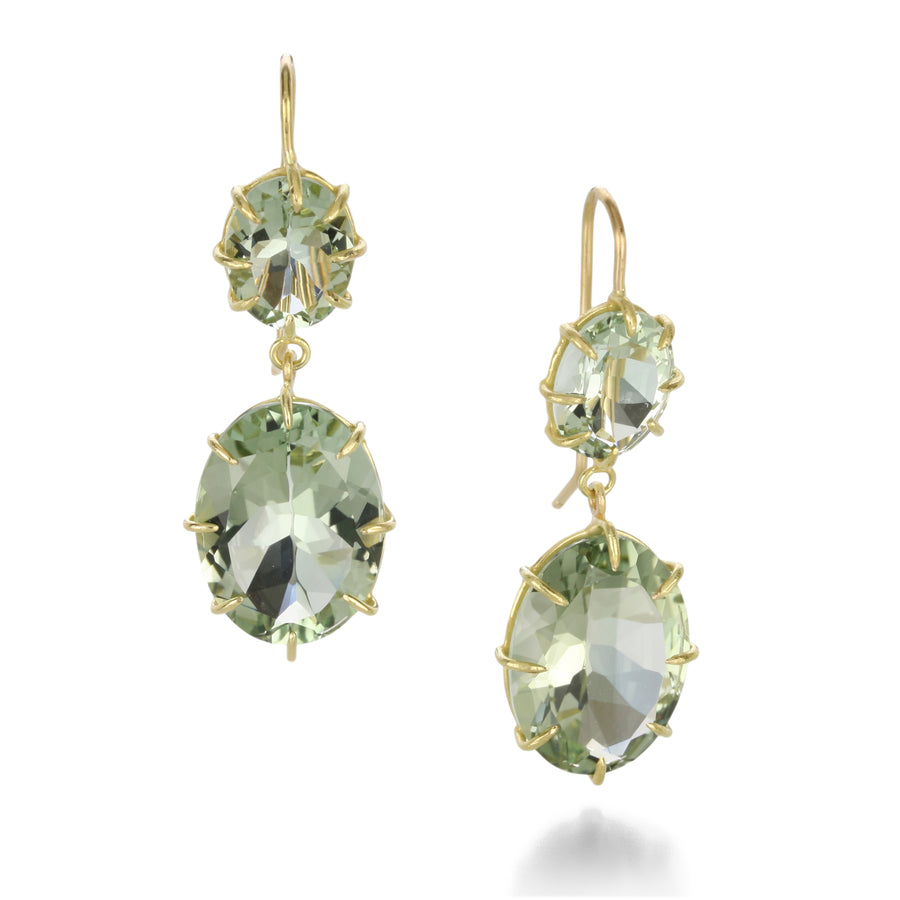 Rosanne Pugliese Double Green Quartz Drop Earrings | Quadrum Gallery