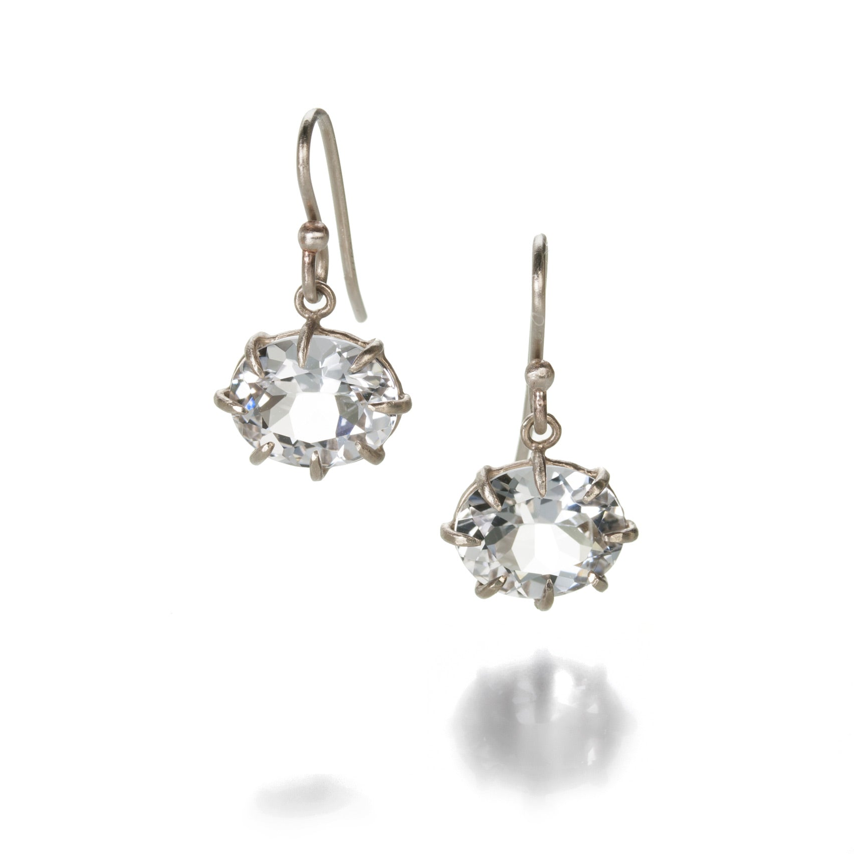 White Gold White Topaz Drop Earrings
