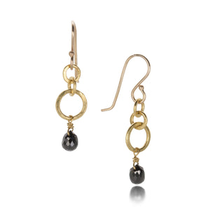 Rosanne Pugliese Mini Hoop and Black Diamond Earrings | Quadrum Gallery