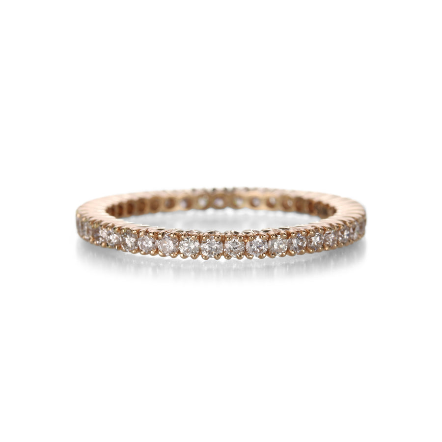 Sethi Couture White Diamond Pink Gold Prong Set Band | Quadrum Gallery