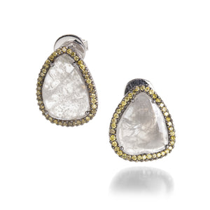Sethi Couture Ice Trillion Diamonds with Green Diamond Studs | Quadrum Gallery