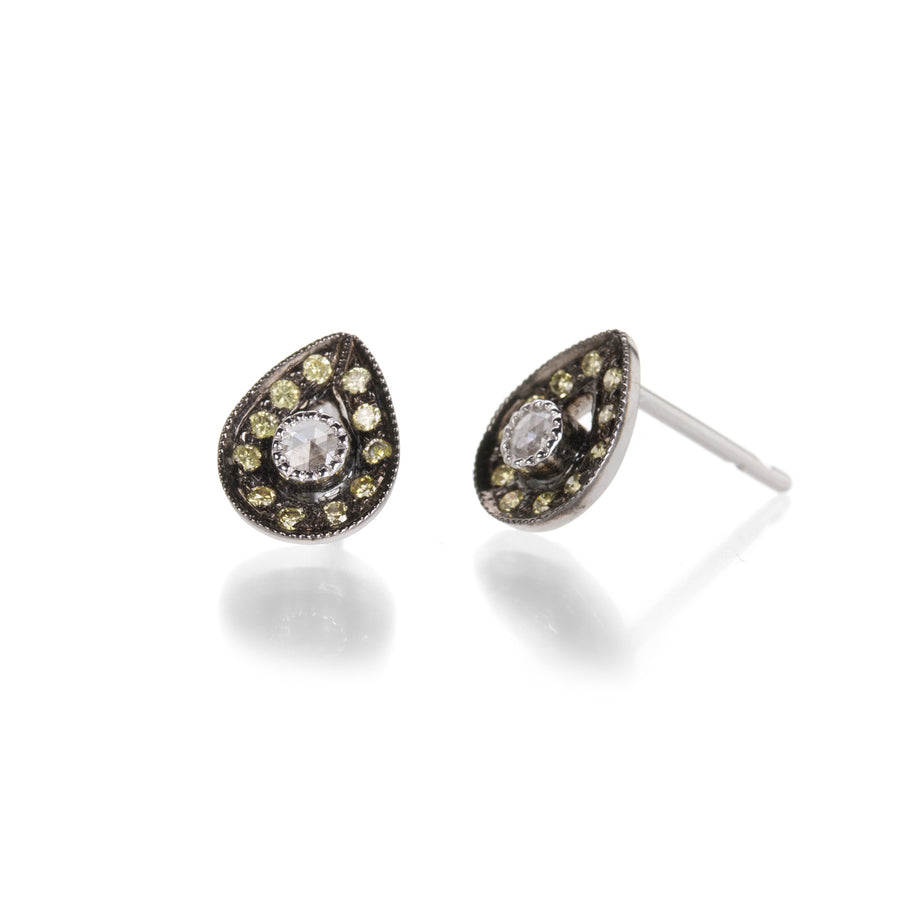 Sethi Couture Milgrain Stud Earrings with Green Diamonds | Quadrum Gallery