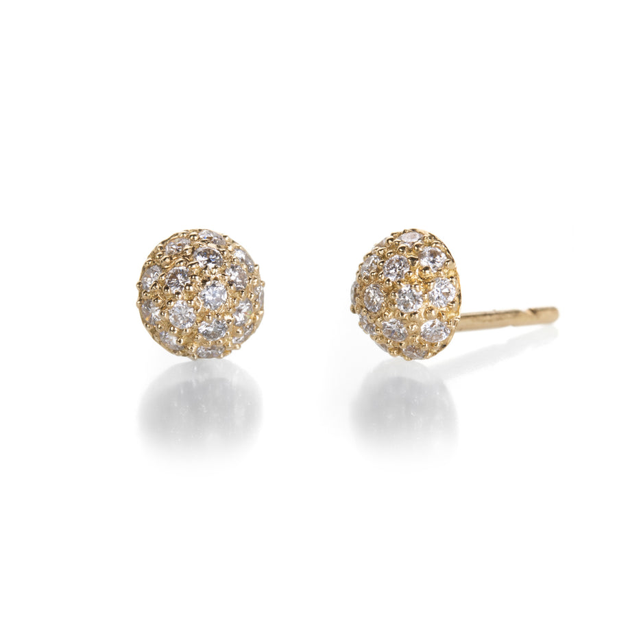 Sethi Couture 1/2 Ball Stud Earrings with Diamonds | Quadrum Gallery