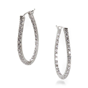 Sethi Couture White Diamond Oval Hoop Earrings | Quadrum Gallery