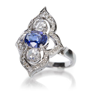 Sethi Couture Sapphire and Rose Cut Diamond Ring  | Quadrum Gallery