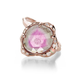 Watermelon Tourmaline Stardust Ring