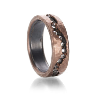 Todd Pownell Rose Gold Fissure Band with Diamonds | Quadrum Gallery