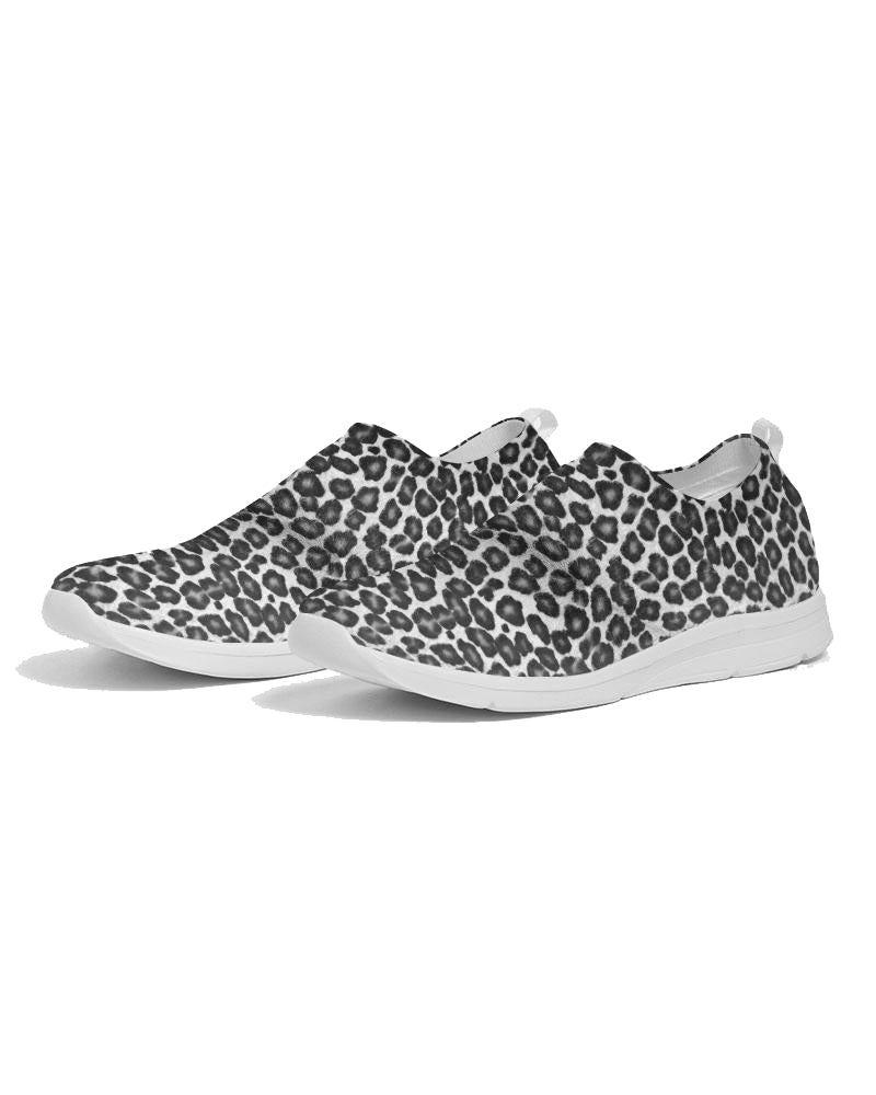 White Leopard Print Fly Knit Shoes