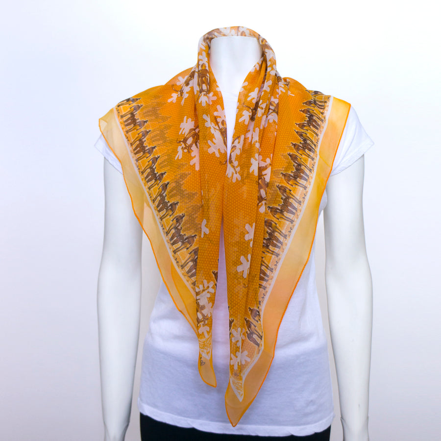 Girl on a Lift Orange Silk Chiffon Scarf