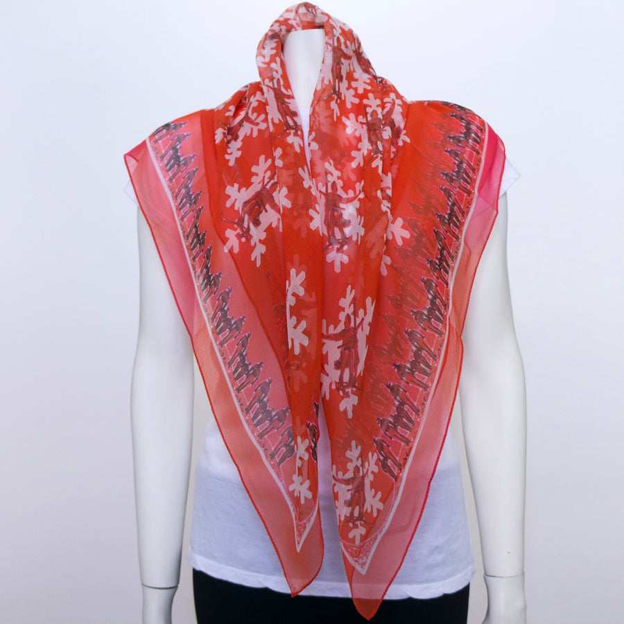 Girl on a Lift Red Silk Chiffon Scarf